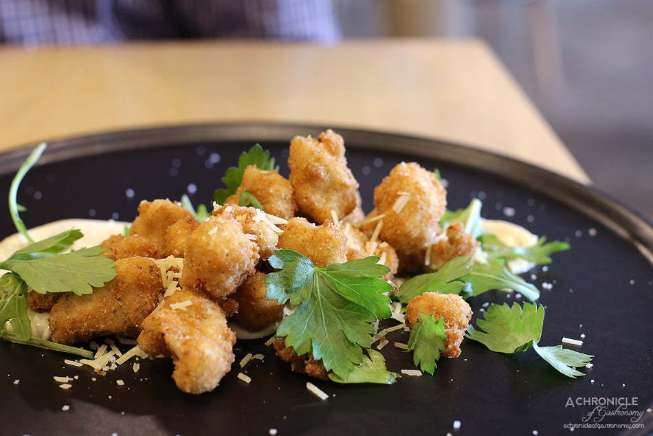 Mr Humble - Crispy fried cauliflower, parmesan, mustard garlic aioli ($13)