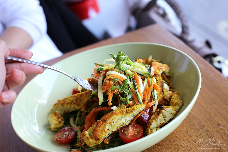 Northern Eatery - Zucchini noodle salad, spicy chicken, cherry tomatoes, carrot, chervil and parsley pesto ($17)