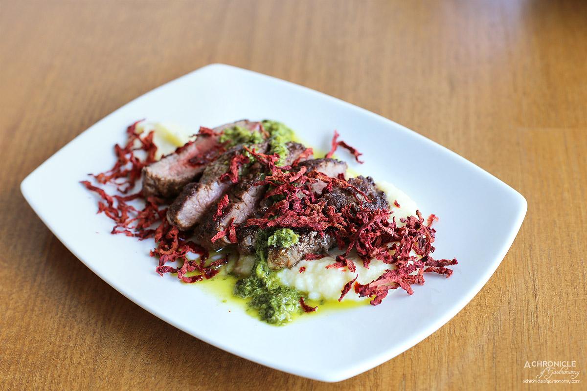 Northern Eatery - Lamb backstrap, beetroot crisps, cauliflower puree and salsa verde ($15)