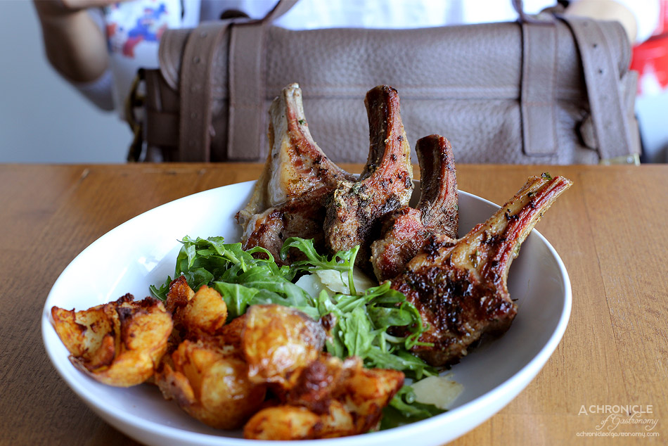 Northern Eatery - Lamb cutlets, rustic chat potatoes, preserved lemon, parmesan and roquette sald ($24.50)
