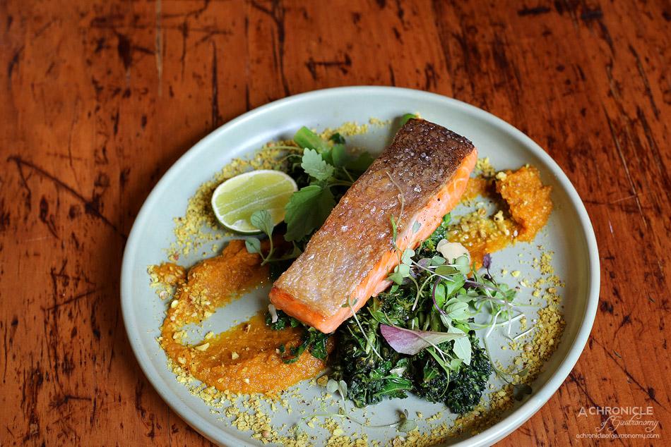 Saint James - House Cured, Crispy Skin Ocean Trout, broccolini, almond, kale, carrot and cumin puree, ruby murray dukkah, lime ($21.50)