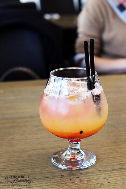 Senses - Shirley Temple mocktail - Pineapple juice, lemonade, raspberry, passionfruit pulp ($7.95)