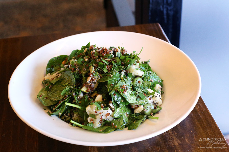 Earth, Wind & Flour - Superfood Salad - Baby spinach, red quinoa, broad beans, zucchini, cauliflower, roasted almonds, pepitas, sunflower and poppy seeds, fresh mint and parsley with a seasoned olive oil dressing ($12)