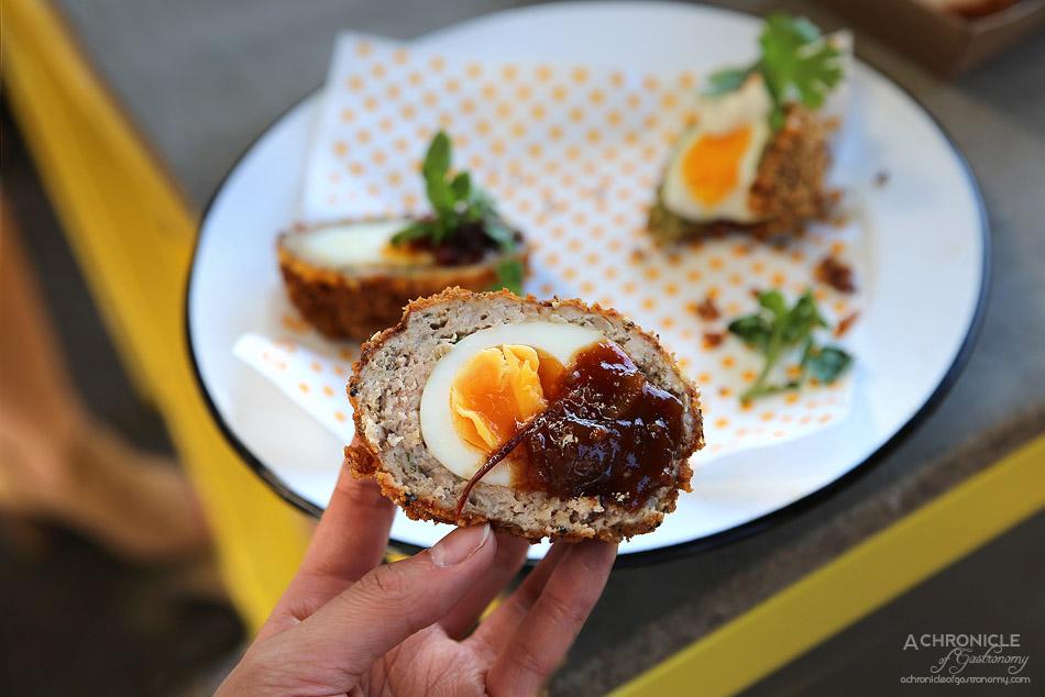 Good Egg - Scotched Egg - Pork & fennel, panko crumbed egg w roast tomato relish ($5,50) Vegetarian scotched Egg - Falafel, panko crumbed egg w harissa & tahini dressing ($5,50)