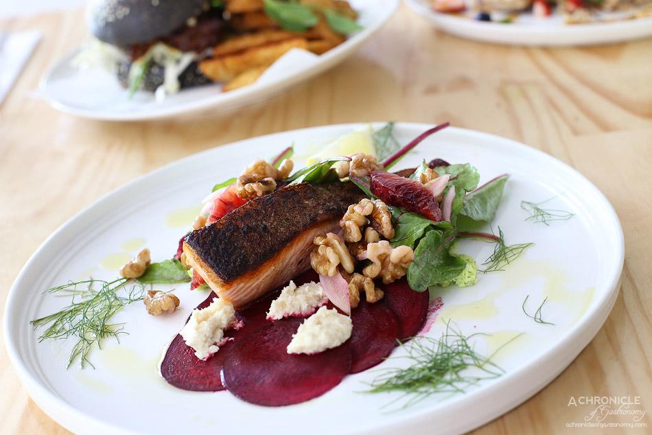 Junkyard - Grilled Salmon Fillet w broad bean puree, walnuts, cured beetroot, chard leaves, fennel, blood orange, horseradish cream ($21.50)