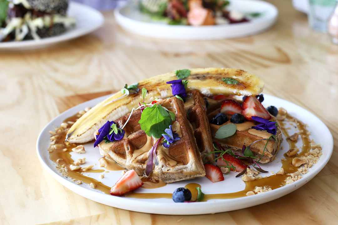 Junkyard - Peanut and banana waffles w salted caramel, peanut butter mousse, grilled banana and berries ($18.50)
