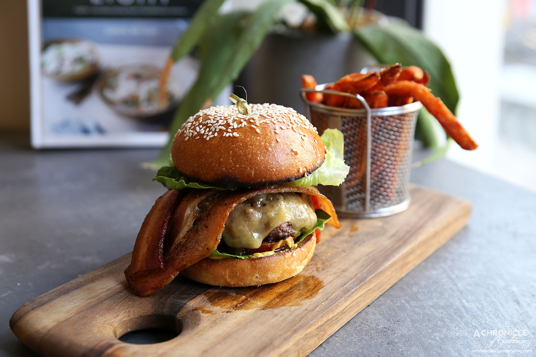 SMAK Food House - Wagyu Burger w lettuce, tomato, red onion, ketchup, mustard, brioche, New York dill pickle, cheese, Kaiserfleisch bacon, sweet potato fries ($18 + $3 cheese + $5 bacon)