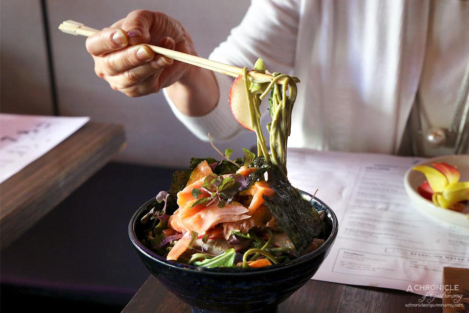 Mr Miyagi - Green Tea Soba Noodle Salad w Konbu Salmon - Green tea soba noodles, sesame dressing, edamame, crisp vegetables ($18+8)