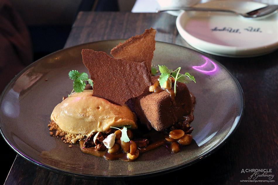 Mr Miyagi - Snicker Licker - frozen snickers parfait, salted peanut caramel, almond nougat, caramel ice cream, dark chocolate ($17)