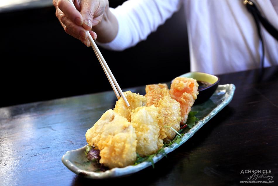 Robarta - Crispy Vegetable and Bean Curd Tempura - Seasonal vegetables in a light tempura batter with tempura dipping sauce ($12)