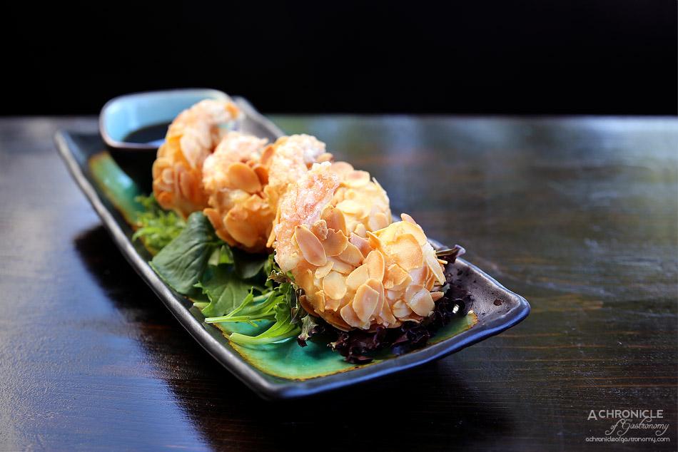 Robarta - Crunchy Almond Prawns - Prawns coated in almond flakes & tempura flour w soy dipping sauce (4 for $14)