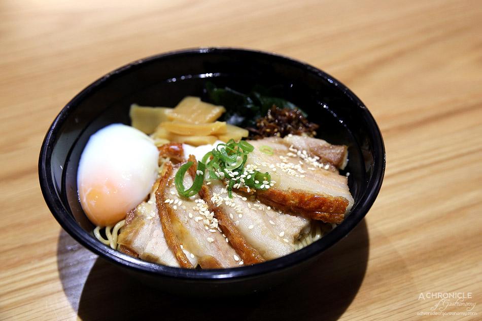 Sake Jr St Collins Lane - Abura ramen with crispy pork belly, soy & kombu tare, wakame, bamboo shoots, spring onion, niboshi & egg ($13.50)