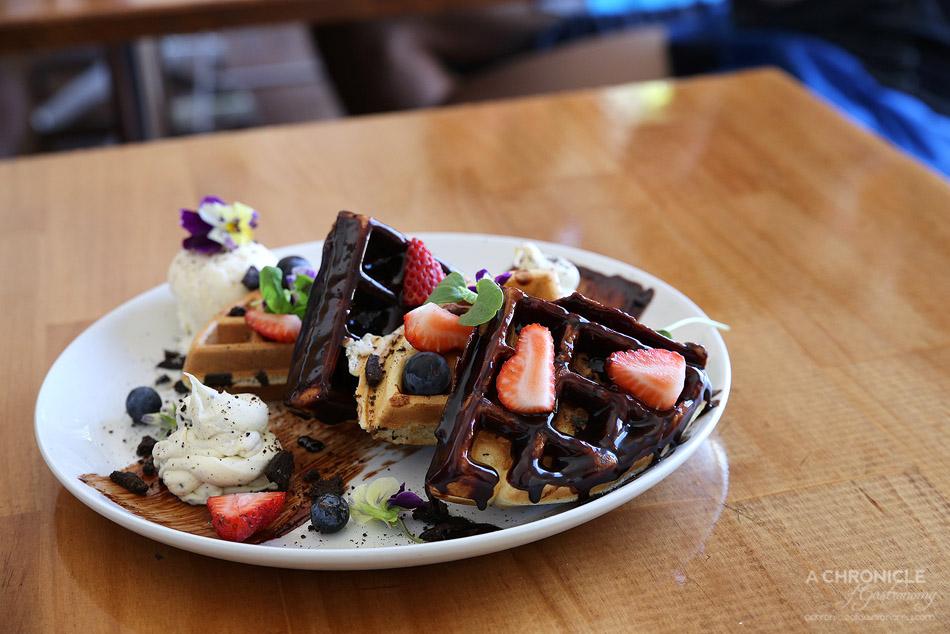 Sardi - Oreo Waffle w dark choc, Oreo mascarpone, berries and vanilla ice cream ($18.50)
