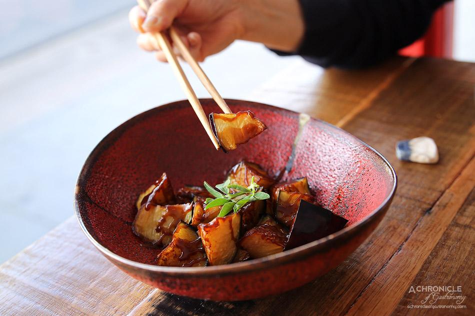 Spiral Beans - Nasu dengaku - Deep fried eggplant with thick sweet and savoury miso sauce ($11.50)