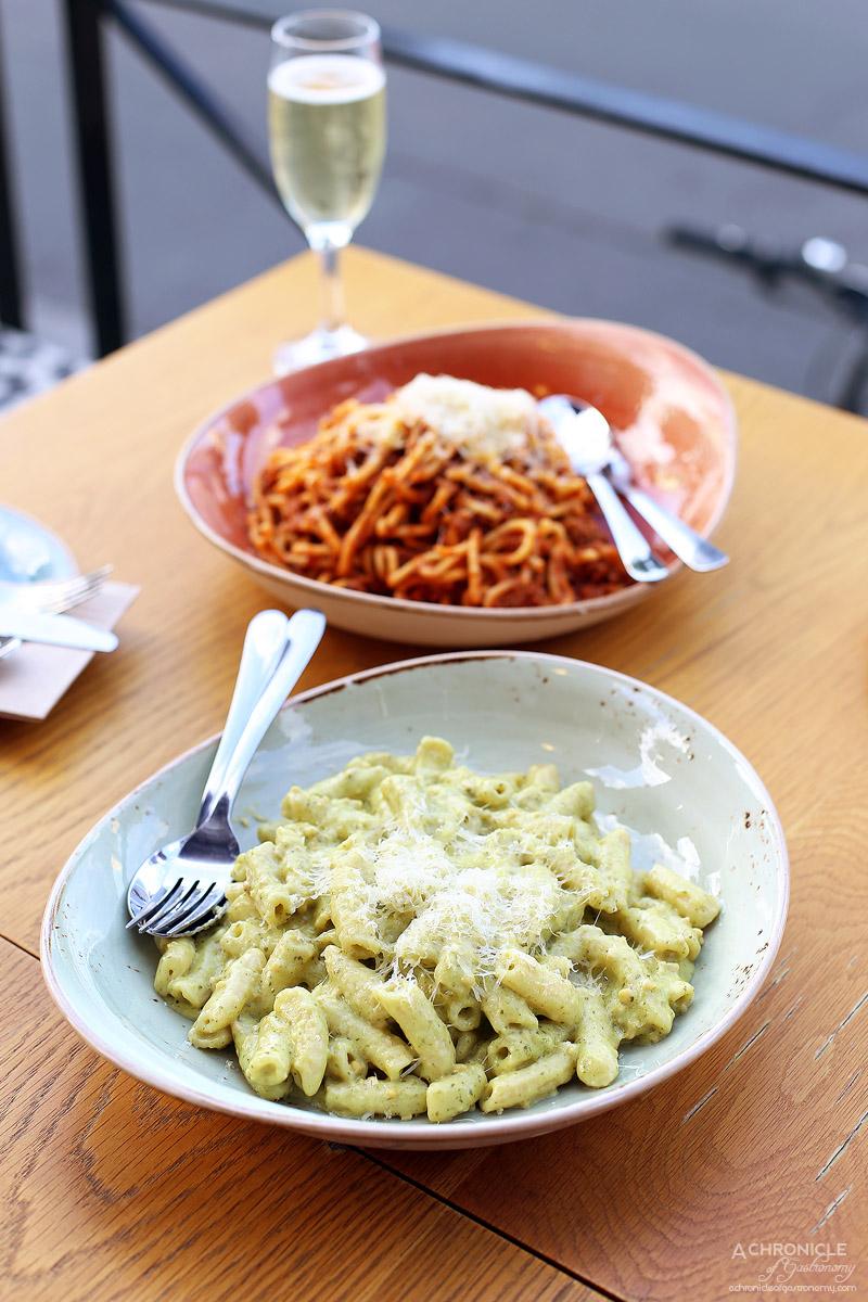 Chatty Vespa - Creamy pesto penne ($14) Spaghetti Bolognese ($18)