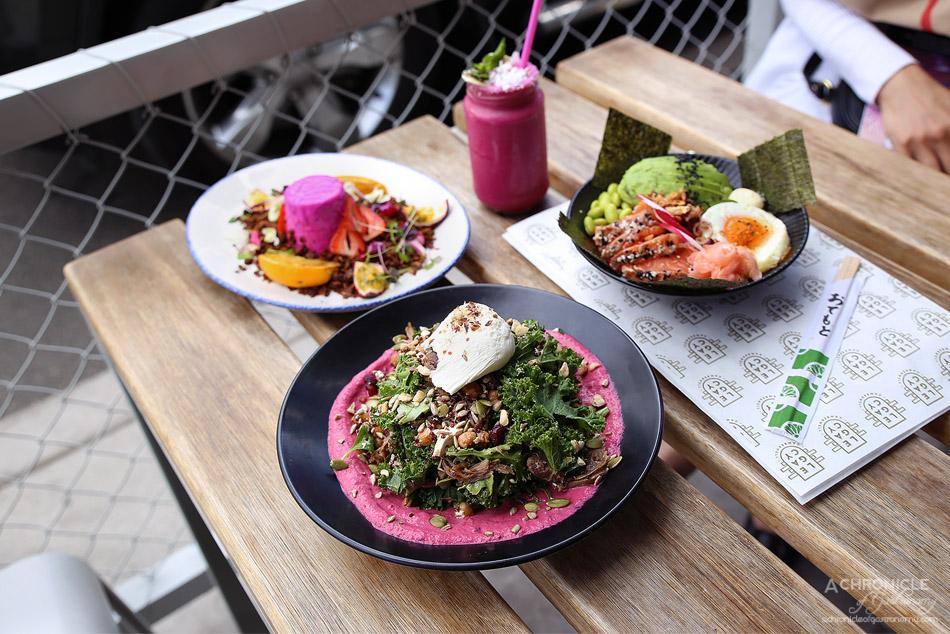 Legacy - Lamb super salad ($20), Sushi bowl ($21), Pitaya yoghurt panna cotta ($16)