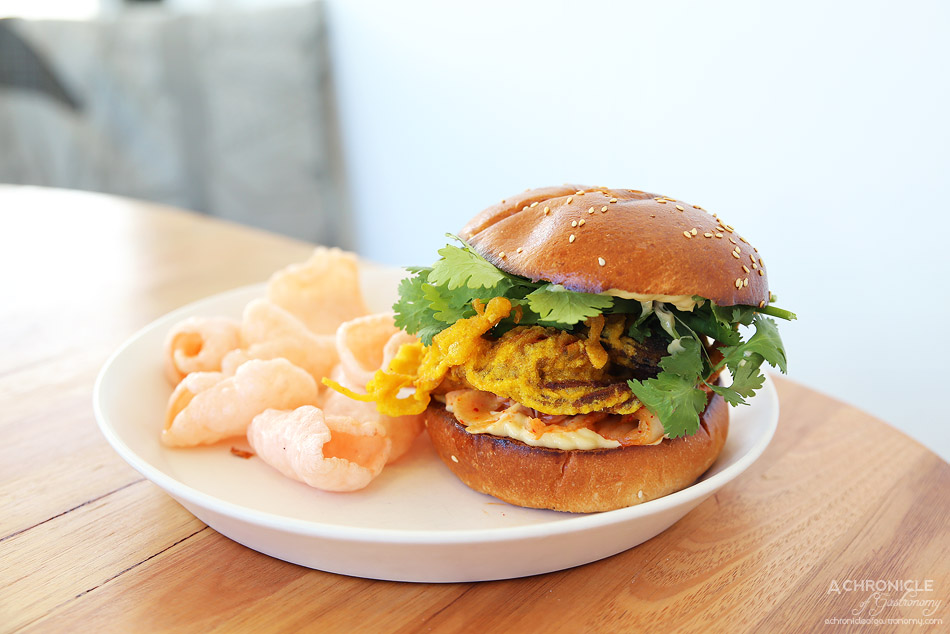 Mr and Mrs Anderson - Soft shell crab burger, brioche bun, fennel and cabbage kimchi, miso kewpie mayo, shrimp crackers ($19.50)
