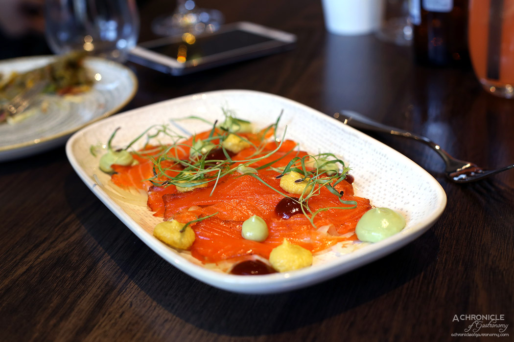 Queen of the South - Oceano Trucha - Tromba blanco and ancho cured ocean trout with corn puree, avocado crema & soused fennel ($22)