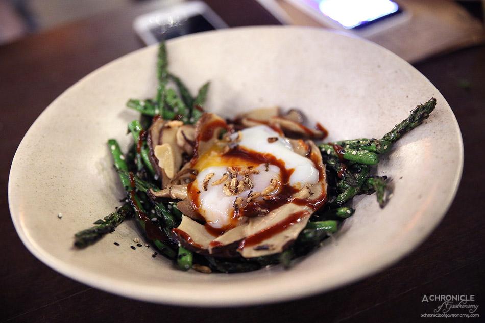 West of Kin - Grilled asparagus, mushrooms, Korean BBQ sauce w 63C egg