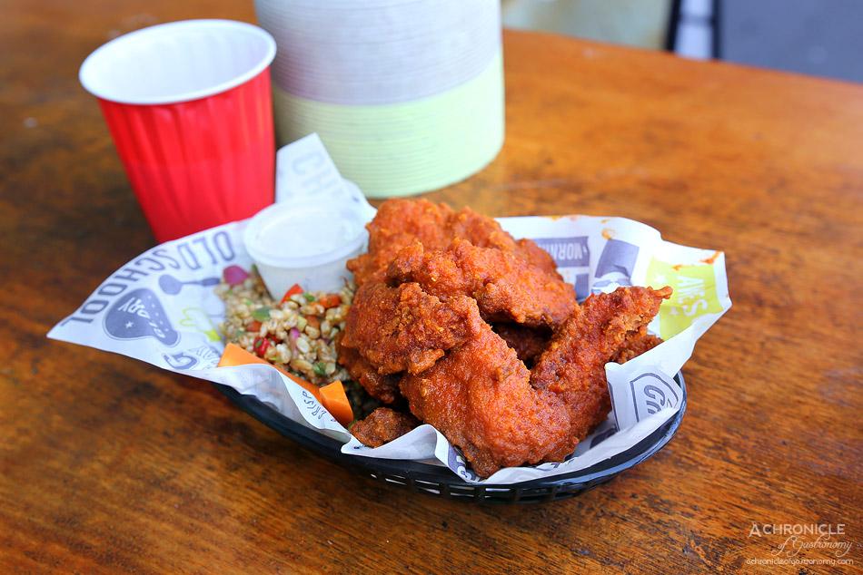 Wings of Glory - Ten piece boneless wings w medium sauce, brown rice salad ($16.90)
