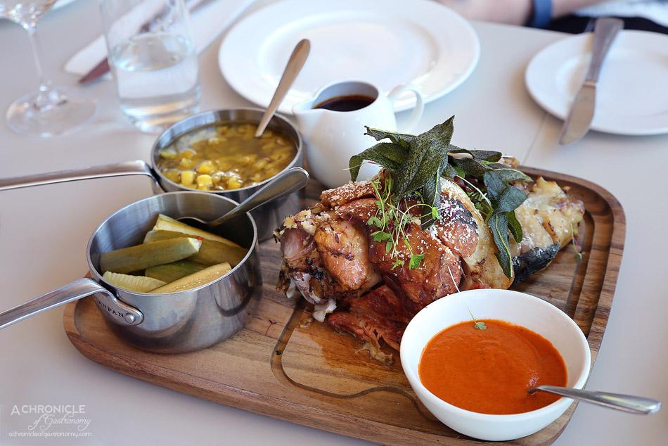 Rochford - Roasted rare breed pork hock (for 2), barbecued corn & black bean salad, harissa oil & charred pineapple a la greque