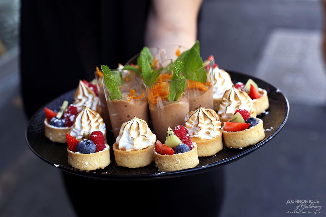 Chez Mademoiselle - Fruit and vanilla tart, Lemon curd and meringue tart, Chocolate mousse with orange rind