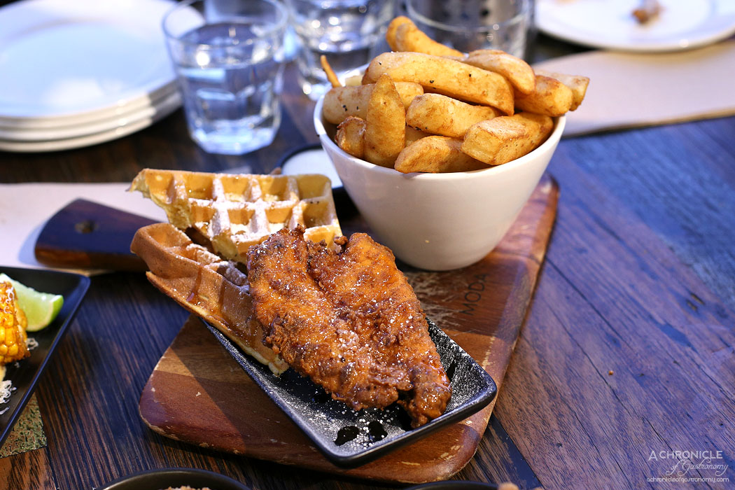 Chicken and Beer - Chicken waffles w maple sauce $10