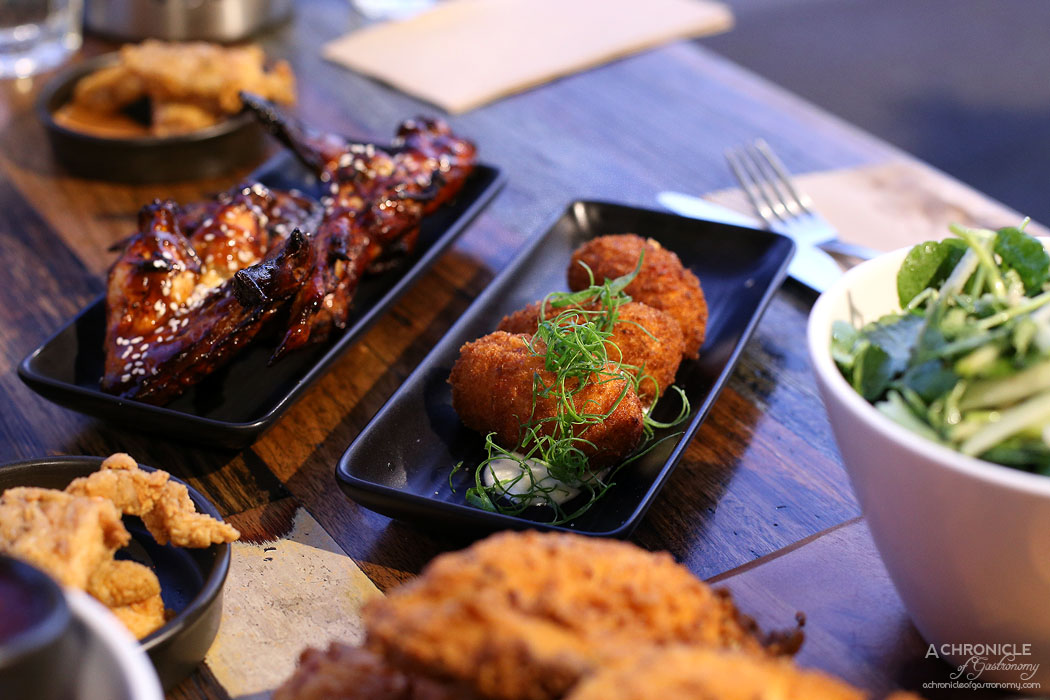 Chicken and Beer - Croquettes w roast capsicum and sauteed leek $10