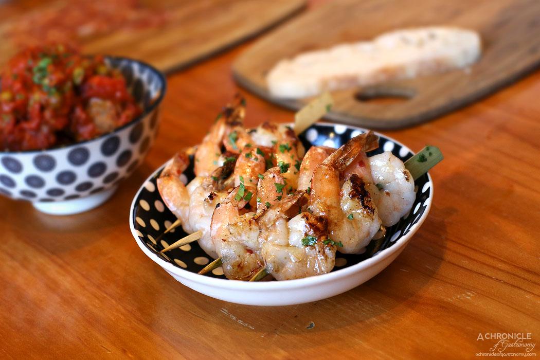 El Burro - Gamba - Grilled tiger prawn skewer, garlic, chilli, lemon ($16)