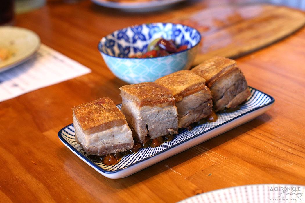 El Burro - Cerdo - Confit pork belly, crackling, pear chutney ($16)