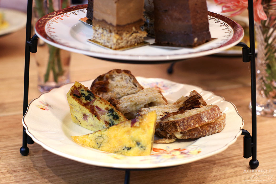 Ganache Chocolate - High Tea - Pulled pork and cheese toastie - Gouda, cheddar, pulled pork and Bechamel sauce on Sourdough from Tivoli Rd Ham and Spinach Quiche w broccoli and Parmesan