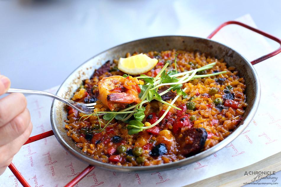 Miss Frank - Paella - Chorizo and prawn w red pepper, garden peas, fresh herbs, lemon ($22)