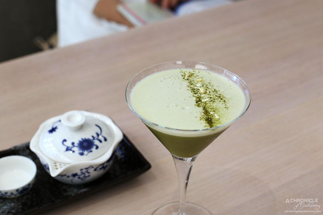 Momo Dumpling + Tea - Matcha Jasmine Sour - Vodka, matcha, jasmine tea, osmanthus tea, jasmine flower ($17.50)