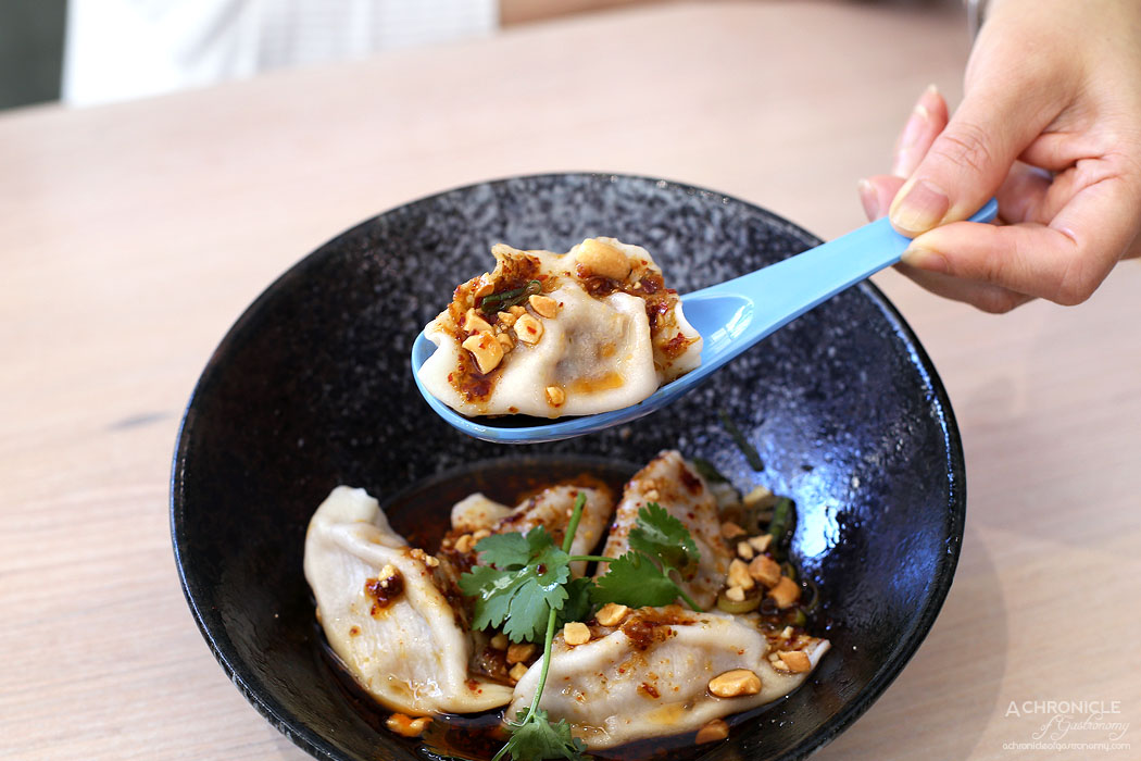Momo Dumpling + Tea - Pork chilli oil dumplings ($12.90)