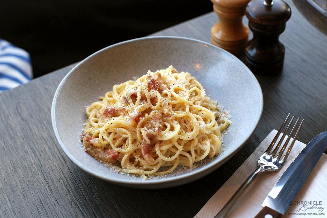 Pizza e Birra - Spaghetti Carbonara - Spaghetti, Pancetta, Eggs, Black Pepper, Aged Parmesan ($24)