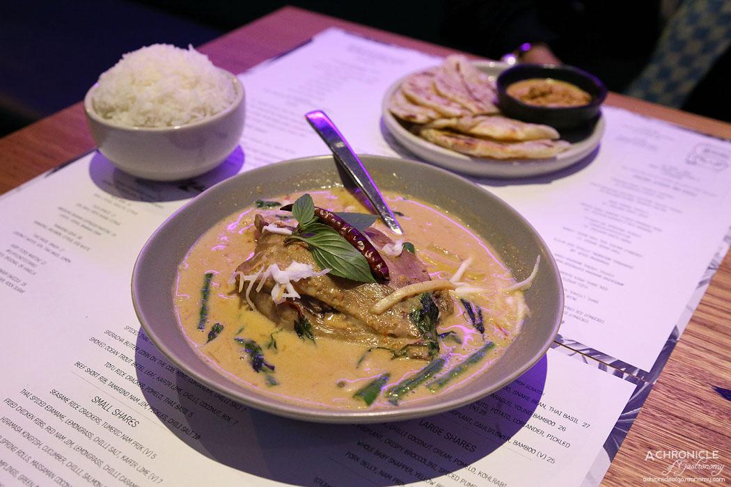 Rock Sugar - Red curry, duck leg, pineapple, young bamboo, snake bean, Thai basil ($27)
