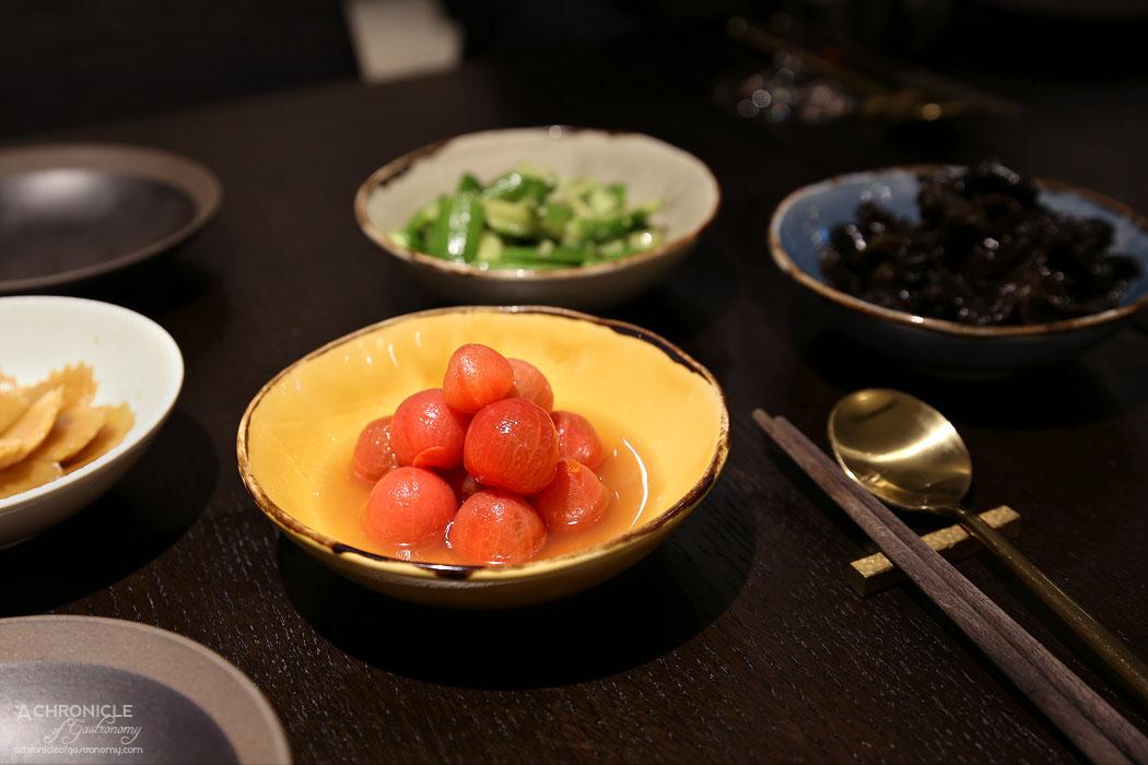 Gold Moon - Black fungus salad ($8), Smashed cucumber and garli cin black rice vinegar ($8), Turnip in sweet sauce ($8), Cherry tomato salad with dried plum sauce ($9)