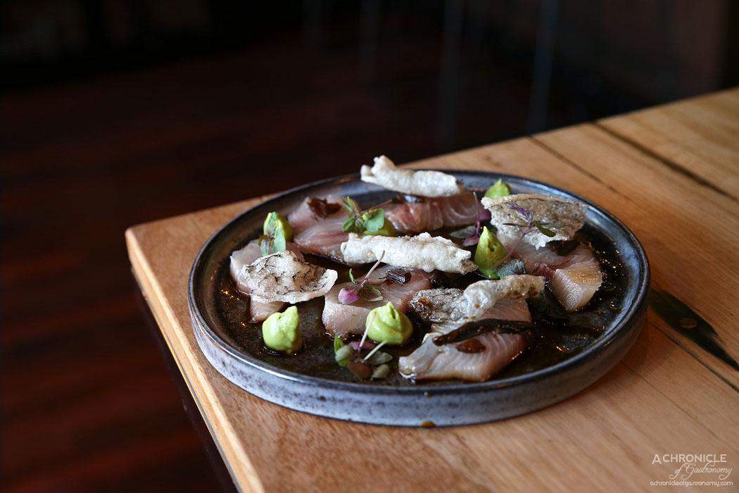 Mr & Mrs P - Kingfish - Truffle soy, avocado, fermented wakame ($19)