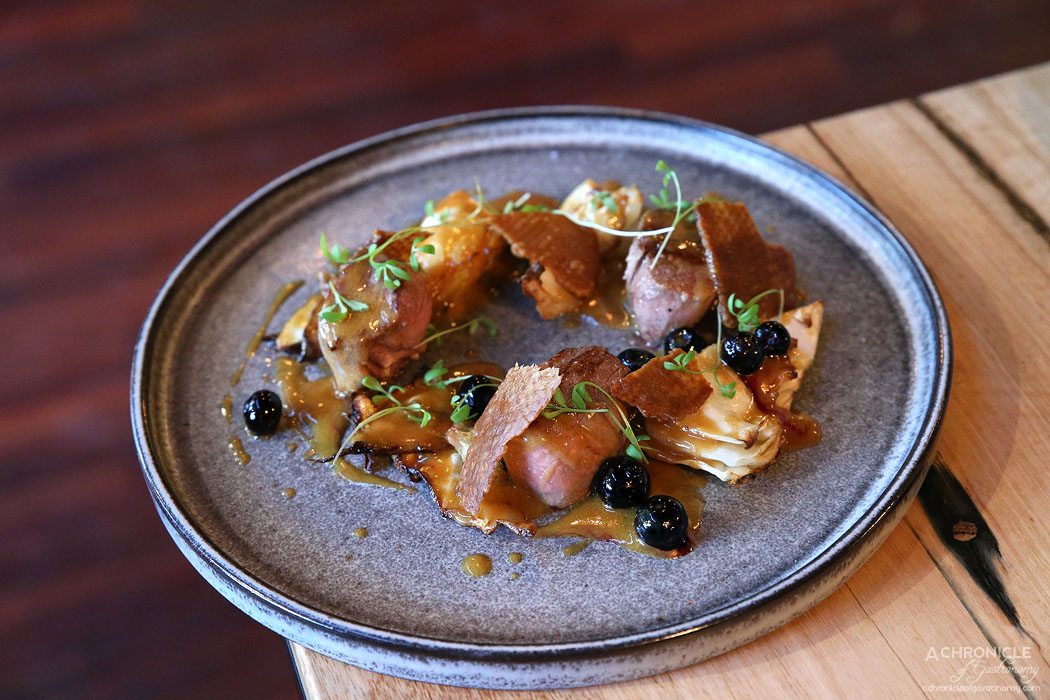 Mr & Mrs P - Duck Breast w roast cabbage, orange verbena sauce, native muntrie berries ($28)