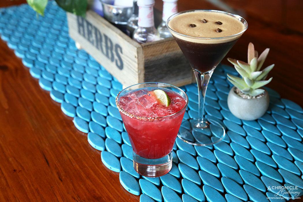 Paloma Cantina - Pomegranate margarita w tequila, pomegranate, triple sec, OJ, lime ($14) Espresso Martini w vodka, Kahlua, creme de cacao, espresso ($14)