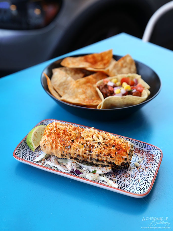 Paloma Cantina - Street Corn - Grilled corn cob, chipotle mayo, queso, lime ($5)