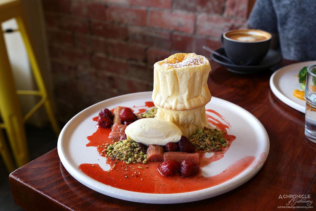 Travelling Bandit - Japanese Souffle Pancakes - Stewed rhubarb and strawberries, vanilla bean mascarpone, pistachio crumb $16.90