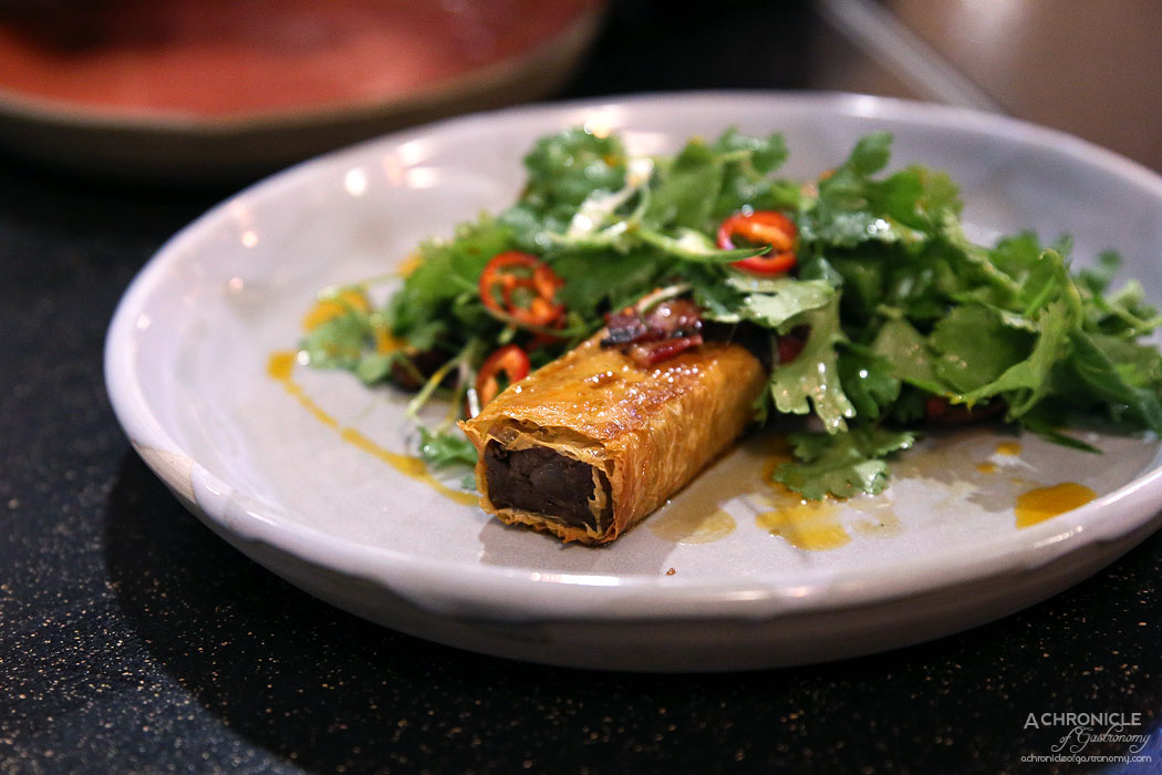 Uncle - Tongue and cheek wrapped in bean curd skin w fragrant herbs and spicy satay ($16)