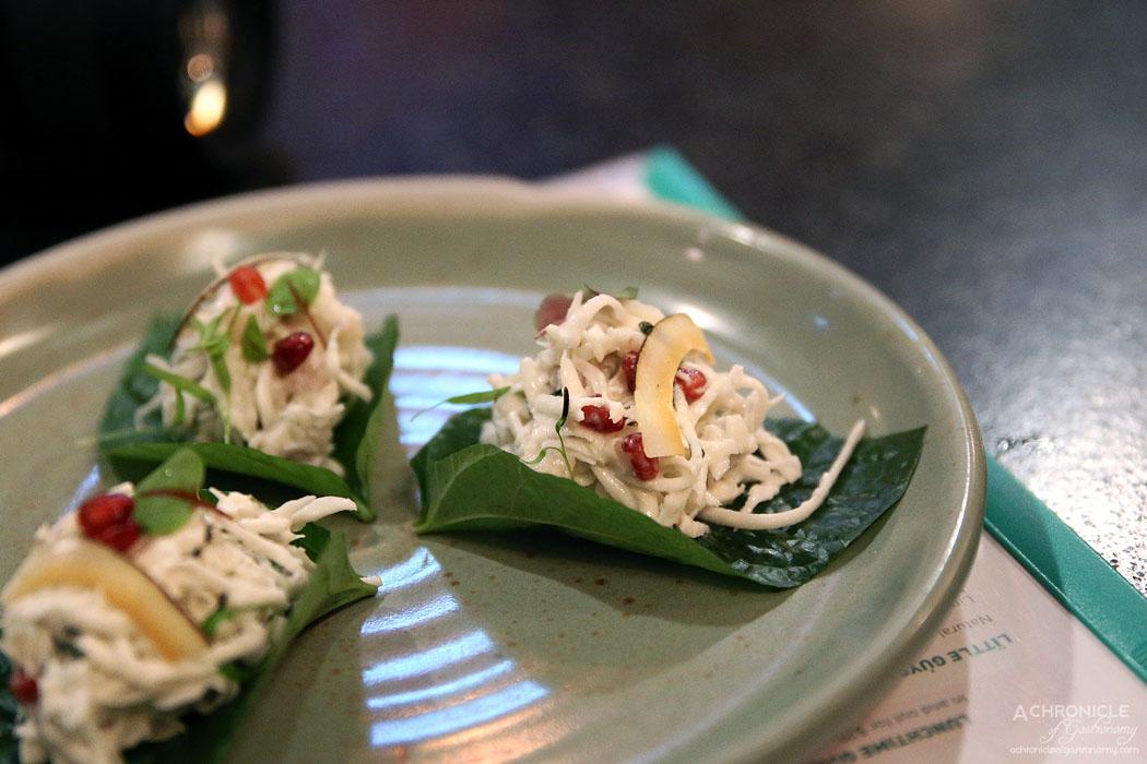 Uncle - Lime cured hapuka, coconut, pomegranate, chilli on betel leaf ($6.50 ea)