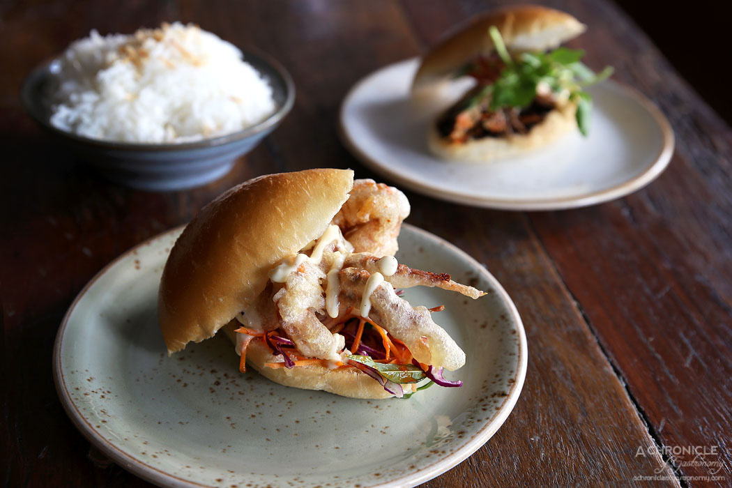 Amok - Crispy soft shell crab, pickled cucumber, sweet Asian coleslaw, preserved lime mayo, brioche ($8.90)