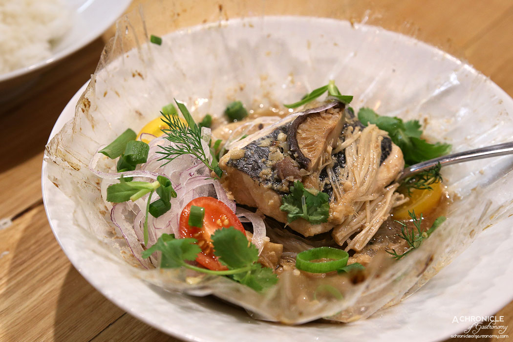 An Uong - Steamed Fish - Steamed blue eye fillet w glass noodle, shiitake, soy sauce & spring onions ($25)