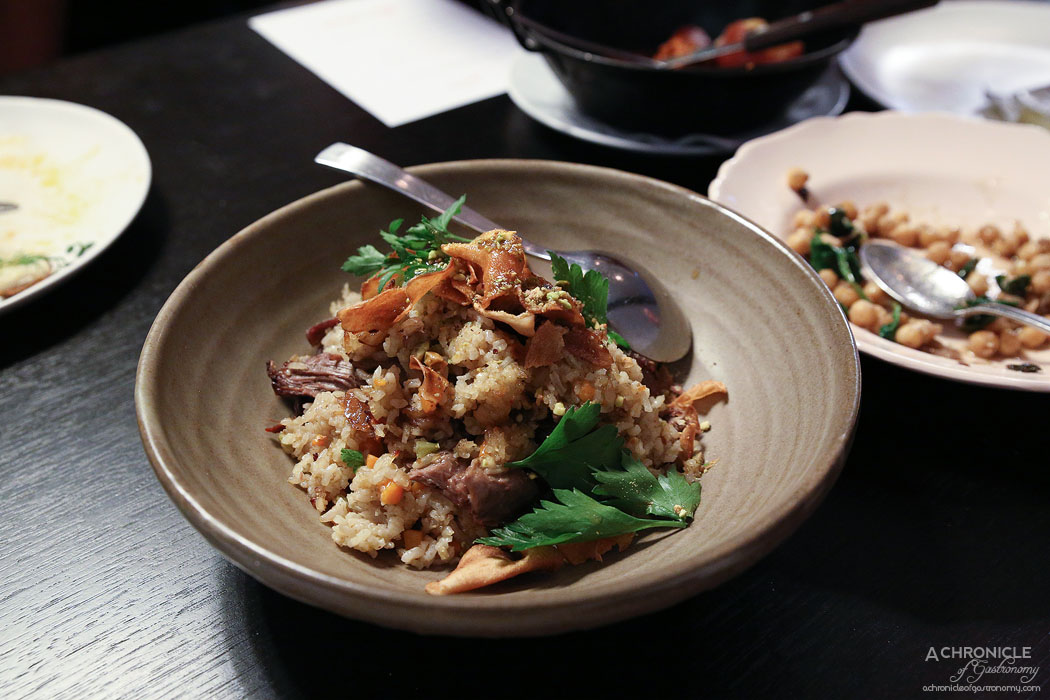 Bar Lourinha - Lamb shoulder and spiced rice w pistachios, carrot, carrot chips