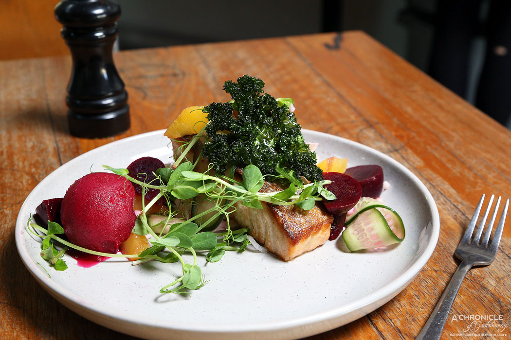 El Mirage - Pan-roasted Salmon w pickled beetroot, smoked beetroot sorbet, shaved fennel, orange, sorrel, chard and pearl cous cous dressed w red wine vinaigrette ($19.50)