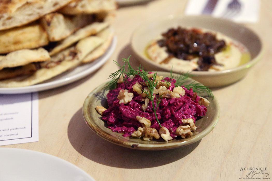 Mr Lawrence - Beetroot, dill and walnut dip, Hummus w Aleppo mushrooms, Flatbread w Zataar and Turkish bread