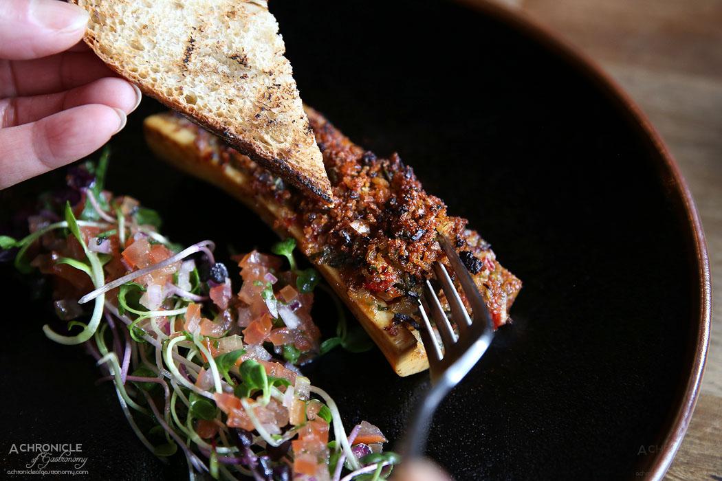 Pablo Honey - Wood Roasted Bone Marrow - piquillo peppers & charred rye toast ($15)